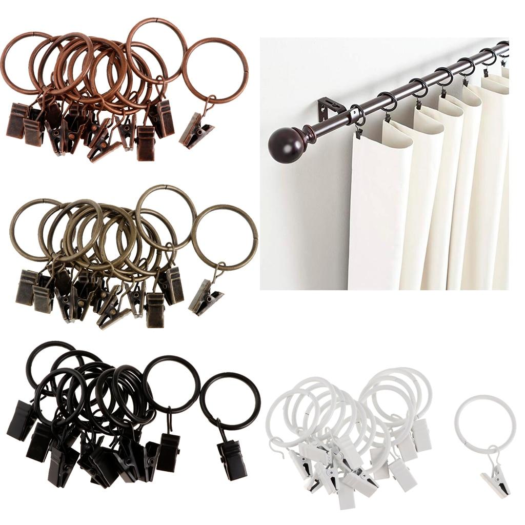 12 Stuks Rings Gordijn Clips Sterke Iron Decoratieve Draperie Gordijn Ring Met Clip Roestvrij Vintage
