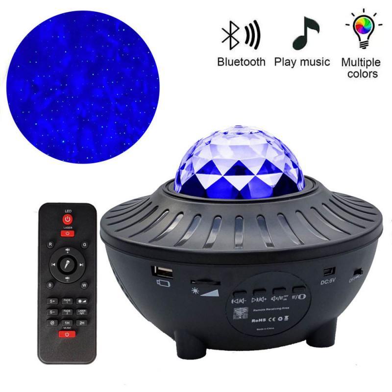 Usb Starry Watermerk Bluetooth Muziek Starlight Projector Stage Watermerk Projectielamp Kleurrijke Sterrenhemel Muziekspeler Led