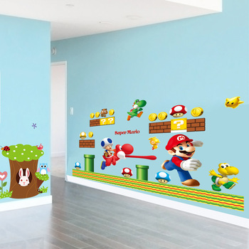 Cartoon Mario Bros Removable Wall Stickers Decals kids room Nursery Home Decor Mural for Boy Bedroom  Mural Art poster