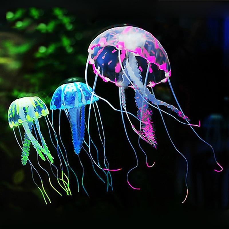Artificial Jellyfish Glowing Effect Fish Tank Decor Floating Landscape Underwater Live Plant Luminous Ornament Aquarium