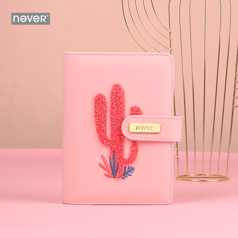 Never Tropical Plant Loose Leaf Cactus Pattern Stationery Embroidery Cover A6 Notebook A6 Agenda A6 Planner Mensual 2021 Weekly