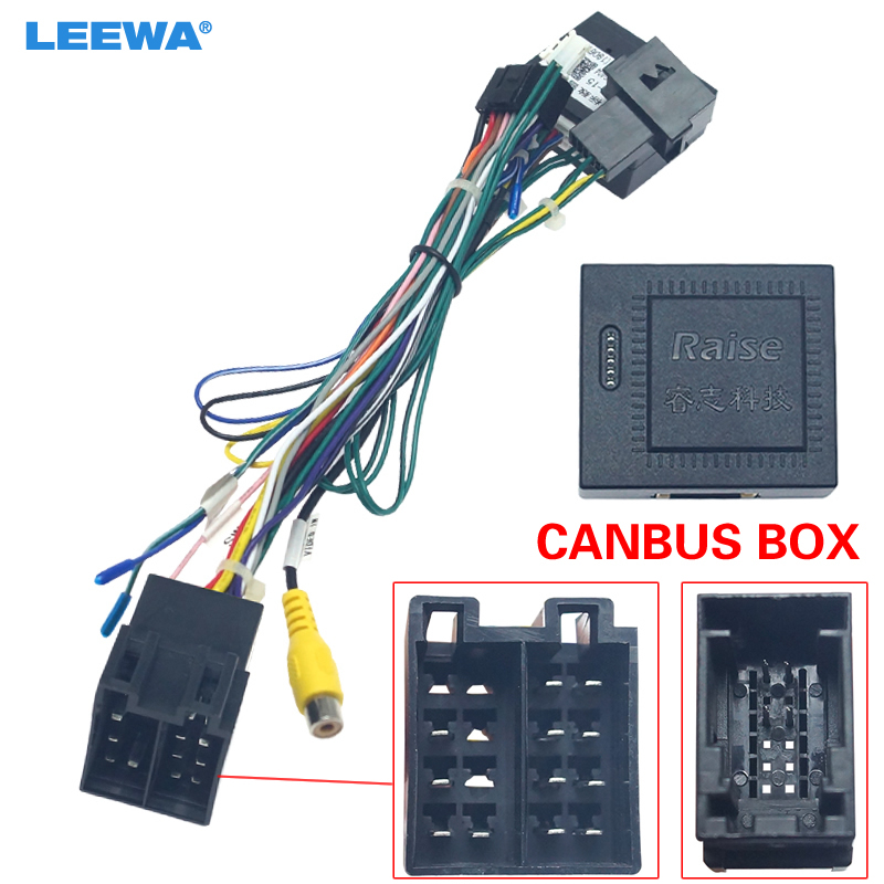 LEEWA 16-pin Car Android Stereo Wiring Harness For Citroen C-QUATR/C-4 Low Trim Level (10~18) Low Trim With CANbus #CA6225