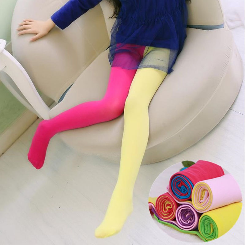 Candy Color Mixed Tights For Girls Patchwork Baby Girl Stretch Trouser Skinny Pants Kids Dance Tights Pantyhose Stocking