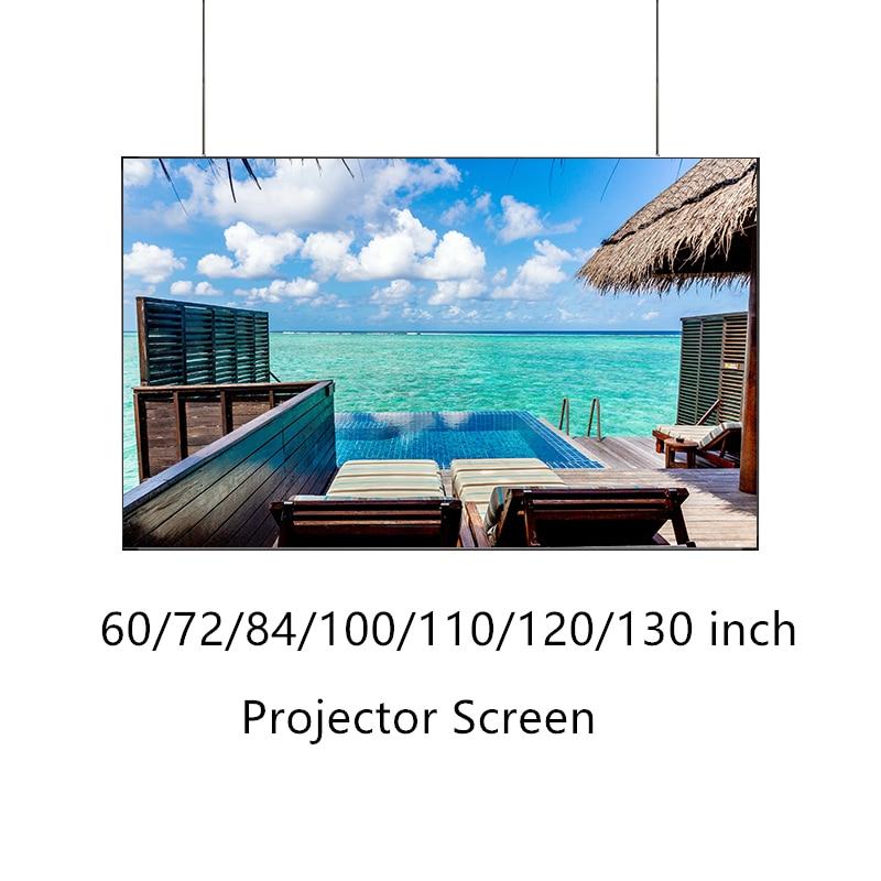 Tela de projeção para projetor 60/72/84/100/110/120/130 polegadas tecido rolo-up filmstrips projetor tela holograma cinema em casa