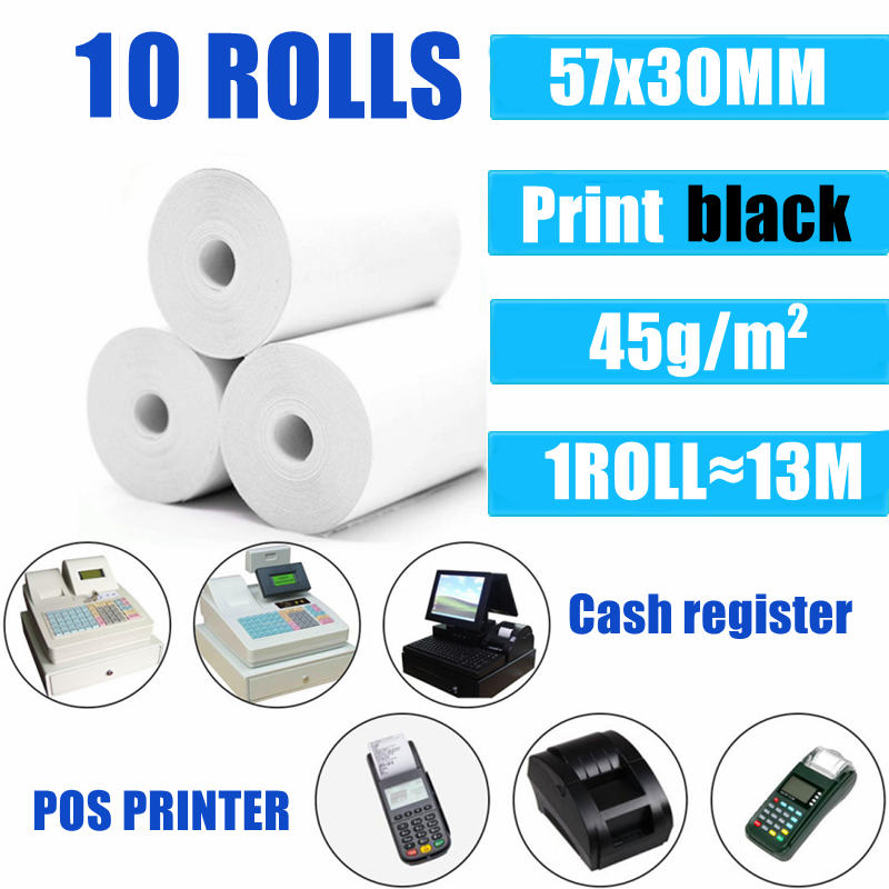 10 Rolls Thermal Paper 57x30 mm POS Printer Mobile Bluetooth Cash Register Paper Rolling Papers Pos Hospitality