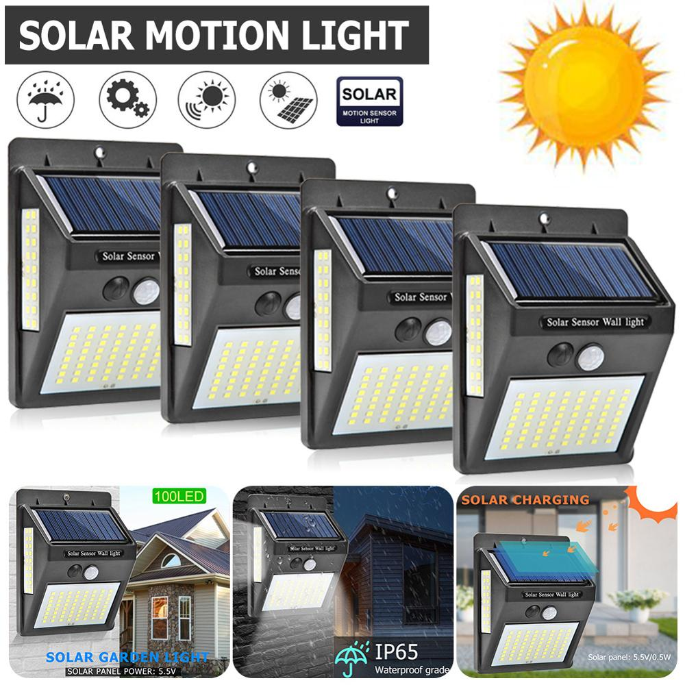 100 LEDs Outdoor Solar Light With Motion Sensor Solar Lamp Waterproof Four Sides Garden Decoration Wall Street Led Light