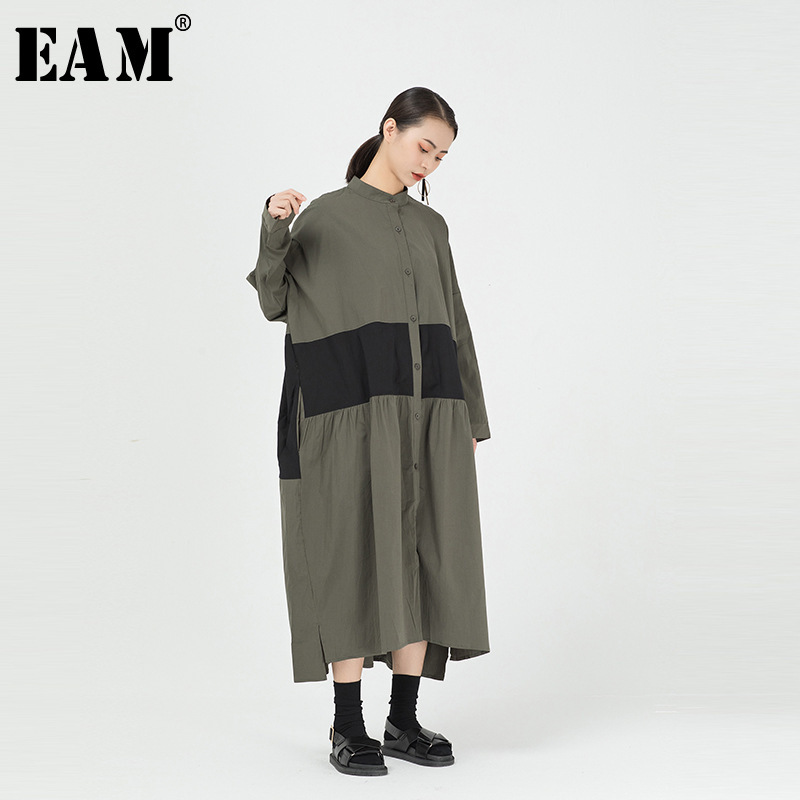 [EAM] Women Contrast Color Pleated Big Size Shirt Dress New Stand Collar Long Sleeve Loose Fit Fashion Spring Autumn 2020 1R294