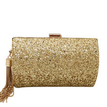 Boutique De FGG Golden Glitter Tassel Women Evening Bags and Clutches Gala Dinner Ladies Metal Clutch Handbags and Purses