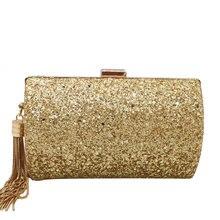 Boutique De FGG złoty brokat Tassel kobiety torby wieczorowe i sprzęgła Gala kolacja panie metalowa kopertówka torebki i portmonetki