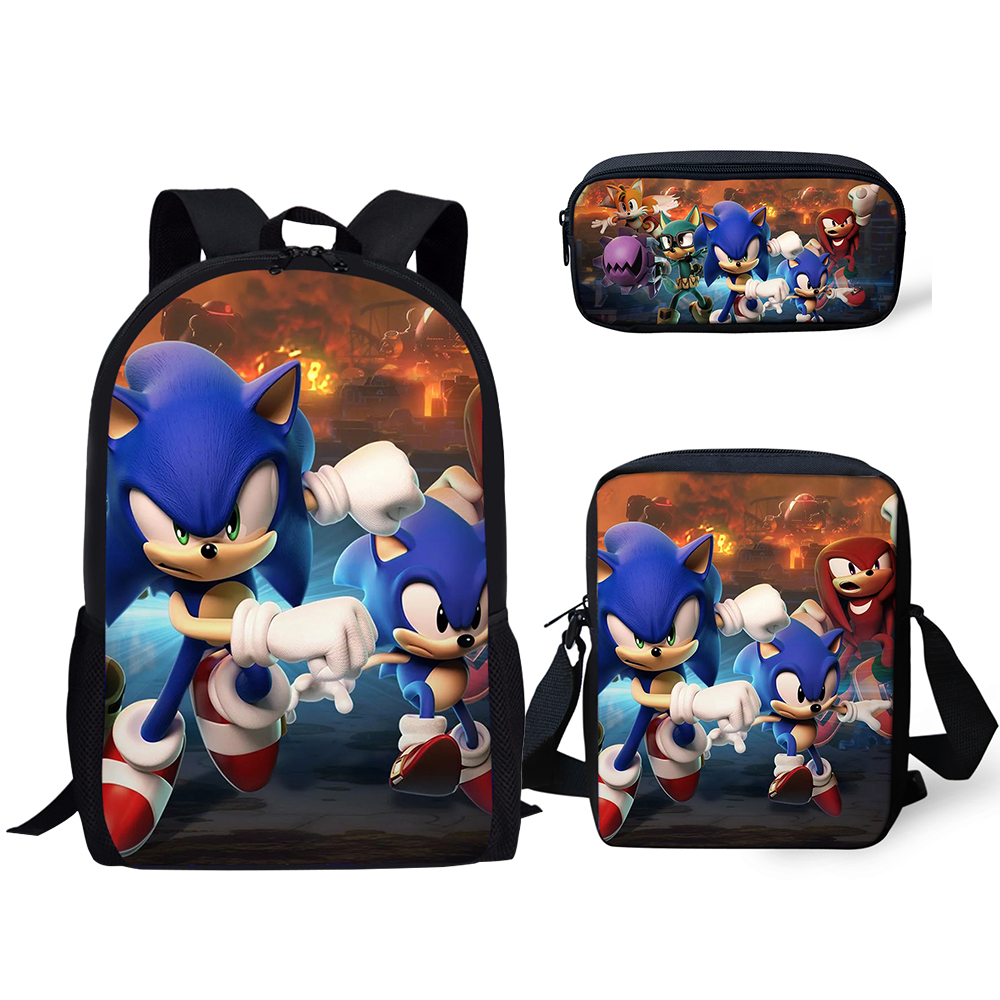 HaoYun 3PCs/Set Fashion Backpack Sonic The Hedgehog Pattern Kids School Bags Cartoon Animal Designer Teenagers Book-Bags Set