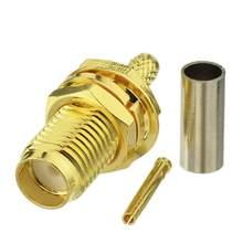 5 pces sma fêmea adaptador rf conector sma fêmea jack friso para rg316 rg174 cabo fio sma fêmea conector adaptador