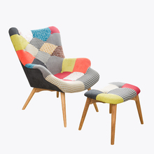 цена на Mid Century Modern Retro Contour Chair  With Foot Stool For Living Room Bedroom Furniture Armchair Tufted Accent Chair Ottoman