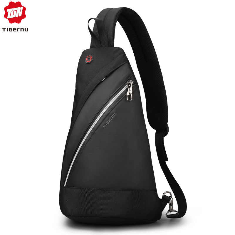 Tigernu 2019 novos homens casuais crossbody sacos de luz moda alta qualidade splashproof peito preto mensageiros para adolescentes sacos ombro