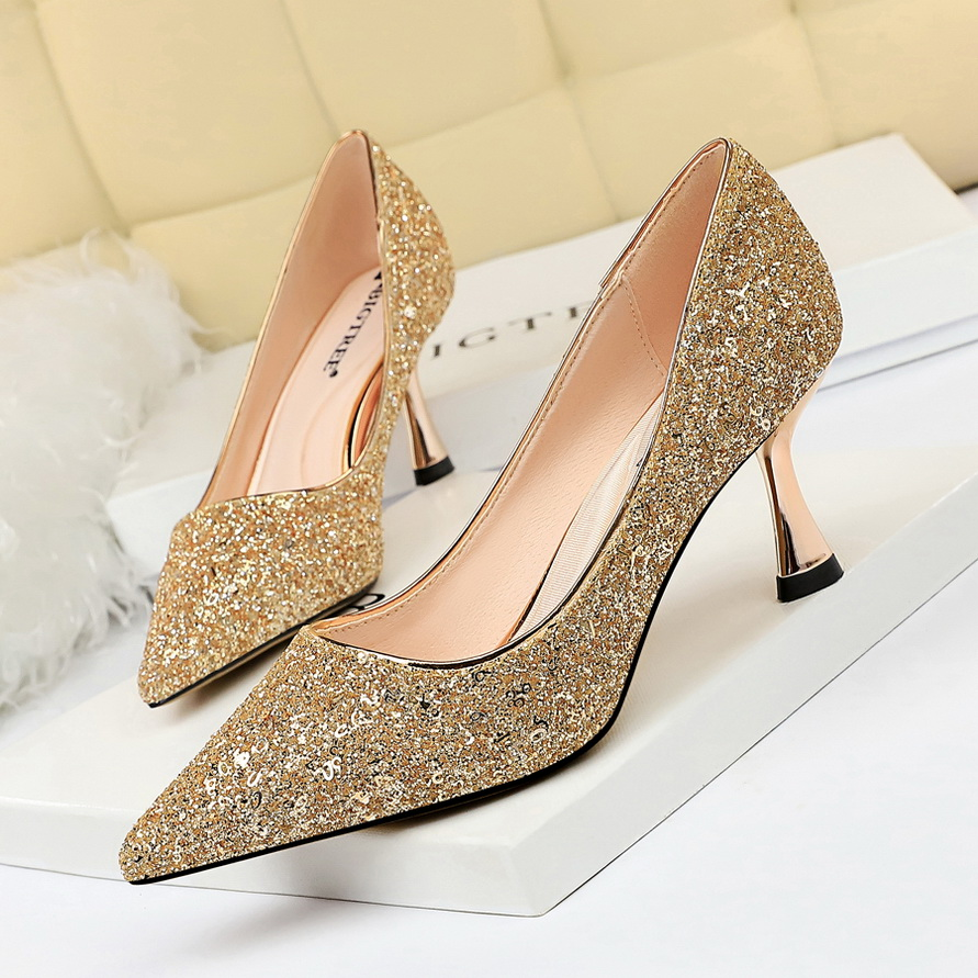 Plardin Women's Shoes High-Heeled Rhinestone Suede Sexy Fashion Pointed Nightclub Fine title=