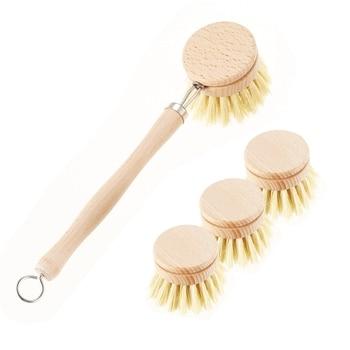 Skillet cleaning brush, replaceable head Sale! Heavy kitchen dishwashing brush retro wood pot brush Houseware cleaning brush 1