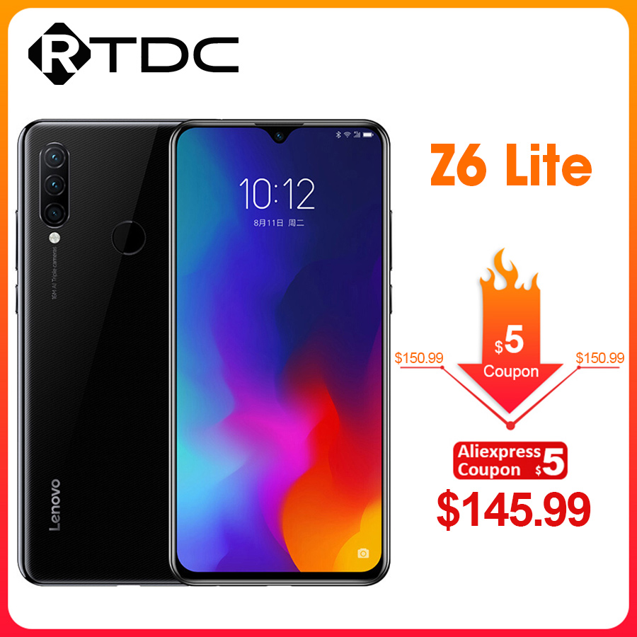Global ROM Lenovo Z6 Lite 6.3'' 4GB 64GB Smartphone Octa Core Triple Back Cams 19.5:9 Waterdrop 4050mAh 4G LTE OTA Mobile Phone