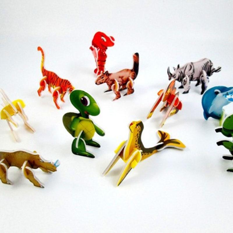 20 unids/lote nuevo lindo educativa Mini de dibujos animados de animales de papel modelo 3D rompecabezas juguetes para niños de regalo juguetes de inteligencia para niños regalo