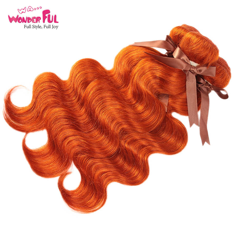 """WA... wspaniałe ciało fala 8 """"-28"""" włosy brazylijskie remy pomarańczowy splot spalone pomarańczowe wiązki 100% wiązki ludzkich włosów 3 4 zestawy Deal"""