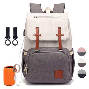 Windel Tasche für Mama 2019 Mode Mutterschaft Windel Baby Pflege Taschen Mit USB Mummy Multifunktions Reise Pflege Rucksack für Kinderwagen