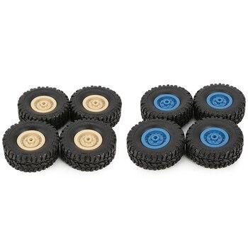 8Pcs Rubber Wheel Rim Tire Tyre for Rc 1/16 Climbing Crawler Car Wpl B-1/B-24/C-14/C-24/B-16 - 4Pcs Yellow & 4Pcs Blue