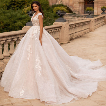 Traugel Vestidos De Novia Backless Lace Ball Gown Wedding Dresses Sexy V Neck Appliques Beaded Chapel Train Vintage Bridal Gowns - discount item  30% OFF Wedding Dresses