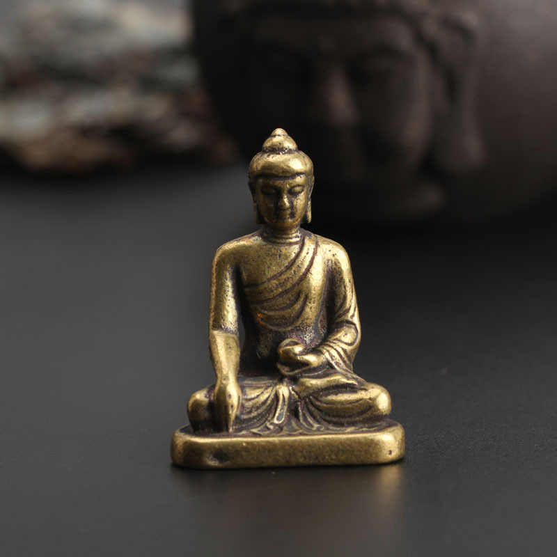 Copper Sakyamuni Buddha Miniature Figurine Home Decor Statue Brass Sculpture Office Desktop Decoration Car Ornaments Accessories