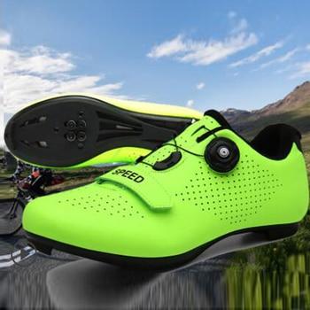 Tênis upline masculino para ciclismo, sapatos ultraleve de autotravamento para bicicleta, profissional, respirável, vermelho, 2020 1