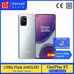 Глобальная версия OnePlus 8 T 8 T 8GB 128GB Snapdragon 865 5G смартфон 120Hz AMOLED жидкокристаллический дисплей 48MP Quad Cams 4500mAh 65W Warp