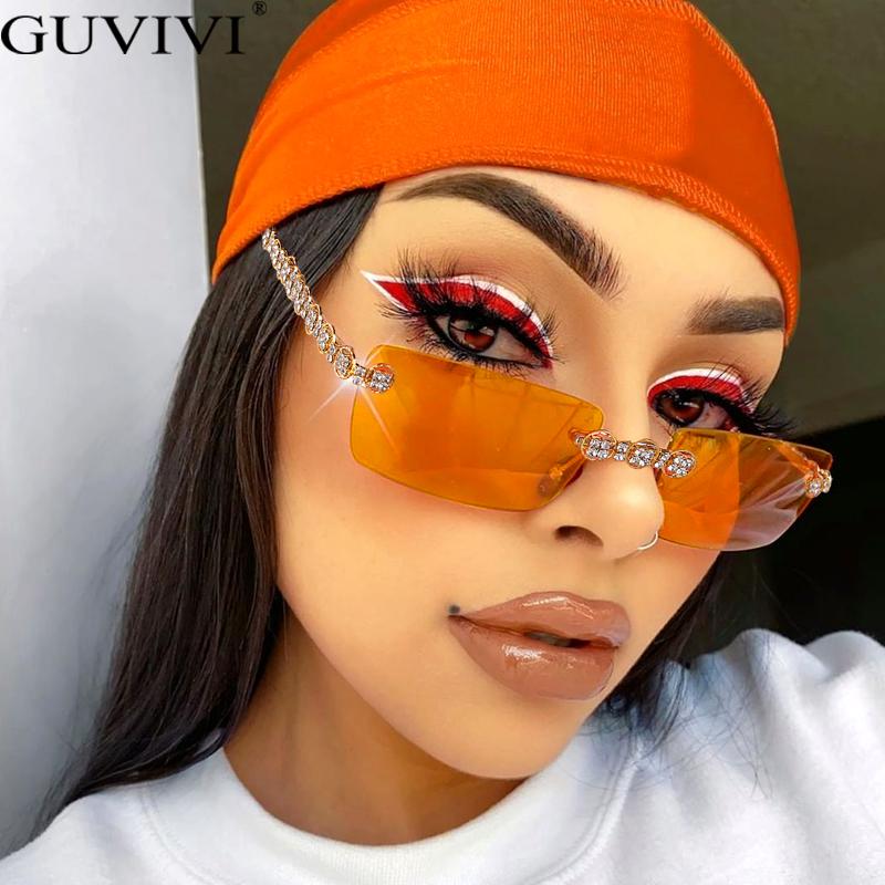 Rimless Diamond Sunglasses Women 2020 Rectangle Steampunk Sun Glasses Crystal Vintage Rhinestone Glasses Eyewear UV400 Oculos
