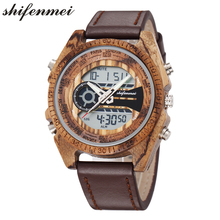 Shifenmei Wooden Watch Mens Luxury Dual Time Digital Watches for Men Japanese Quartz Great Gift S2139L