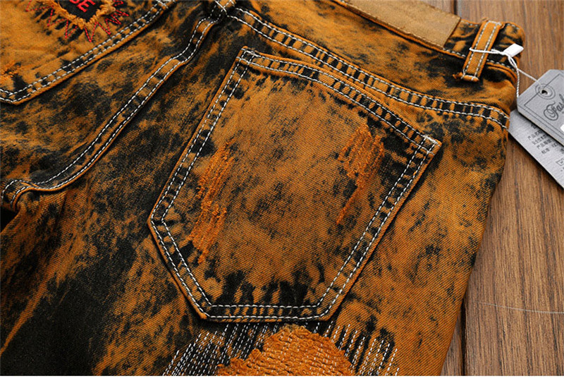 Hot Holes Scratched Men`s Jeans Vintage Embroidery Stitched Moustache Printed Teens Youth Boys Straight Denim Trousers Pants (11)
