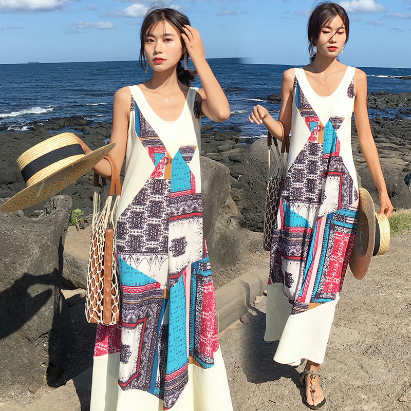 Photo Shoot Ethnic-Style V-neck Sleeveless Loose Pants Skirt New Style Seaside Holiday Beach Jumpsuit Trousers Skirt