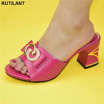 New Arrival afrykańskie buty bez torby zestaw wygodne damskie buty na imprezy damskie wysokie obcasy damskie buty ślubne z metalu tanie i dobre opinie RUTILANT Pantofle Plac heel CN (pochodzenie) Wysoka (5 cm-8 cm) Pasuje prawda na wymiar weź swój normalny rozmiar Moda