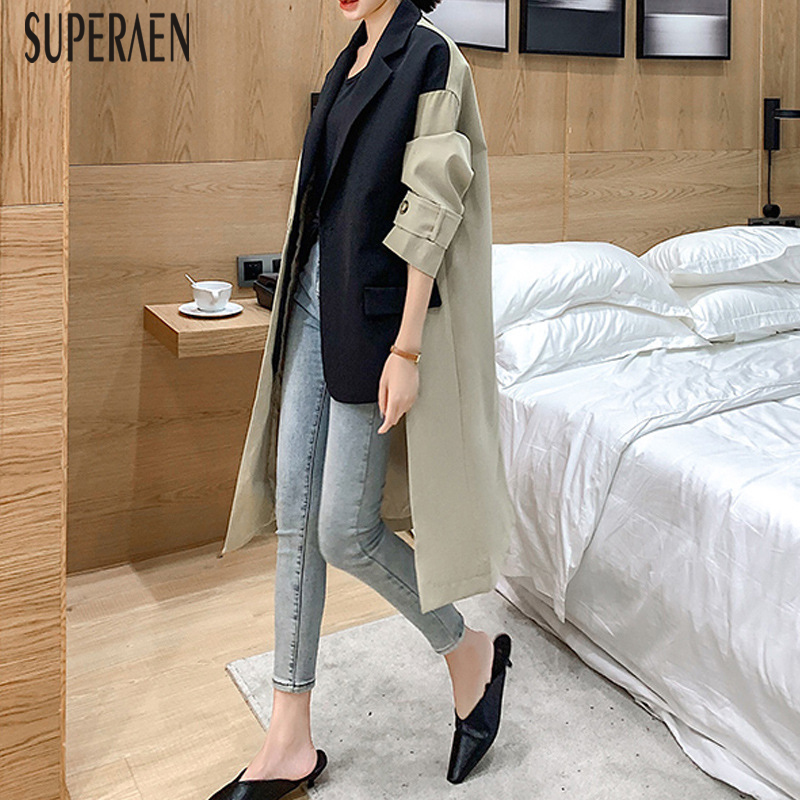 SuperAen 2019 Autumn New Trench Coat For Women Korean Style Cotton Casual Ladies Windbreaker Solid Color Women Clothing