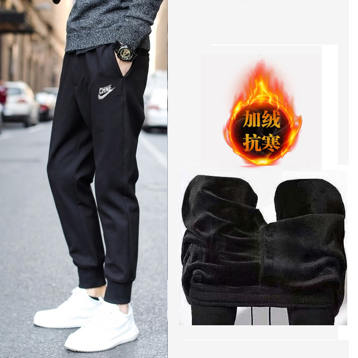 K03 Winter Plus Velvet Warm Cold Large Size Casual Ankle Banded Pants Sweatpants Fashion Capri Students Teenager Athletic Pants