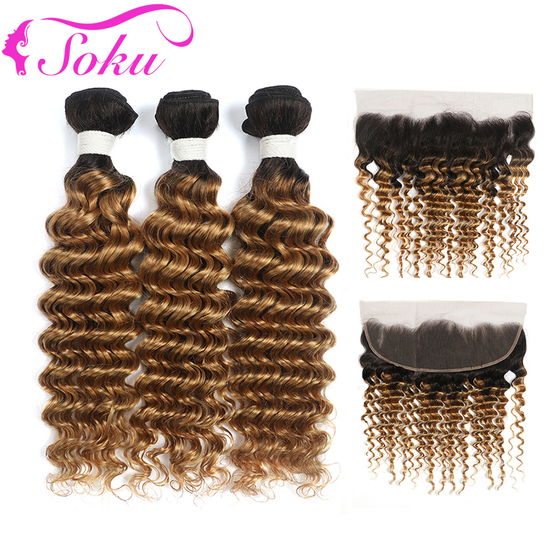 1B 27 Two Tone Ombre Bundles With Frontal Deep Wave Human Hair 3 Bundles With Closure SOKU Non-Remy Brazilian Hair Weave Bundles