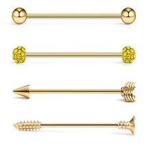 4 adet/takım endüstriyel Piercing seti ok endüstriyel halter takı kristal sanayi Piercing Bar toplu Cartilge küpe