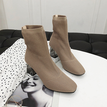 Elegant Brown Boots Women Fashion Ankle 2019 Autumn Sock Ladies Slip On Black Shoes