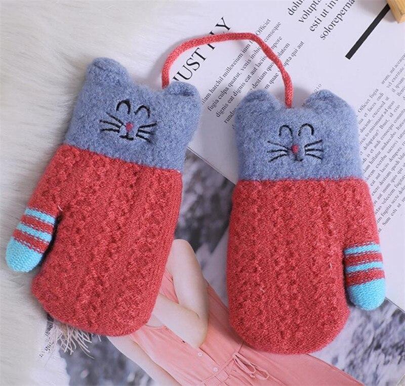 Kids Animal Winter Fingerless Mitten Gloves And Bobble Hat Set Childrens