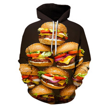 Mens 3D Hoodie Autumn Winter Sweatshirt 3d Print Men and women Hamburger Hip hop Funny Personality Style