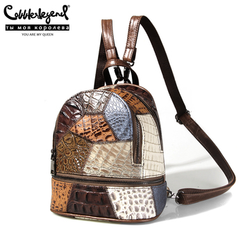 Cobbler Legend Genuine Leather Women Backpack Patchwork Multicolor Backpacks Female Travel Shoulder Bags Women Small Bag Mochila popular rock style natural sheepskin women backpack fashion rivets women s travel bags casual patchwork genuine leather bag