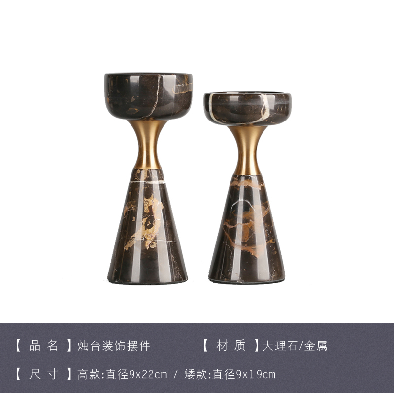 Simple Modern Candle Holder for Tea Lights Black Marble Wedding Candles Decoration Luxury Geometric Decor Bestselling GG50zt - 5