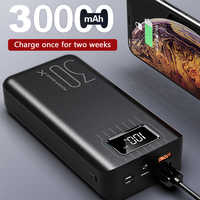 Power Bank 30000mah External Battery TypeC Micro USB QC Fast Charging Powerbank LED Display Portable phone Charger for tablet