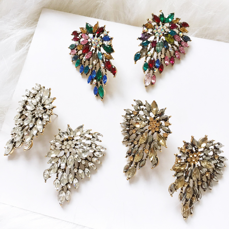 Ztech Maxi Clear Mix Crystal Big Stud Earrings For Women Girls Party Vacation Gifts Oorbellen Pendientes Wholesale Accessories