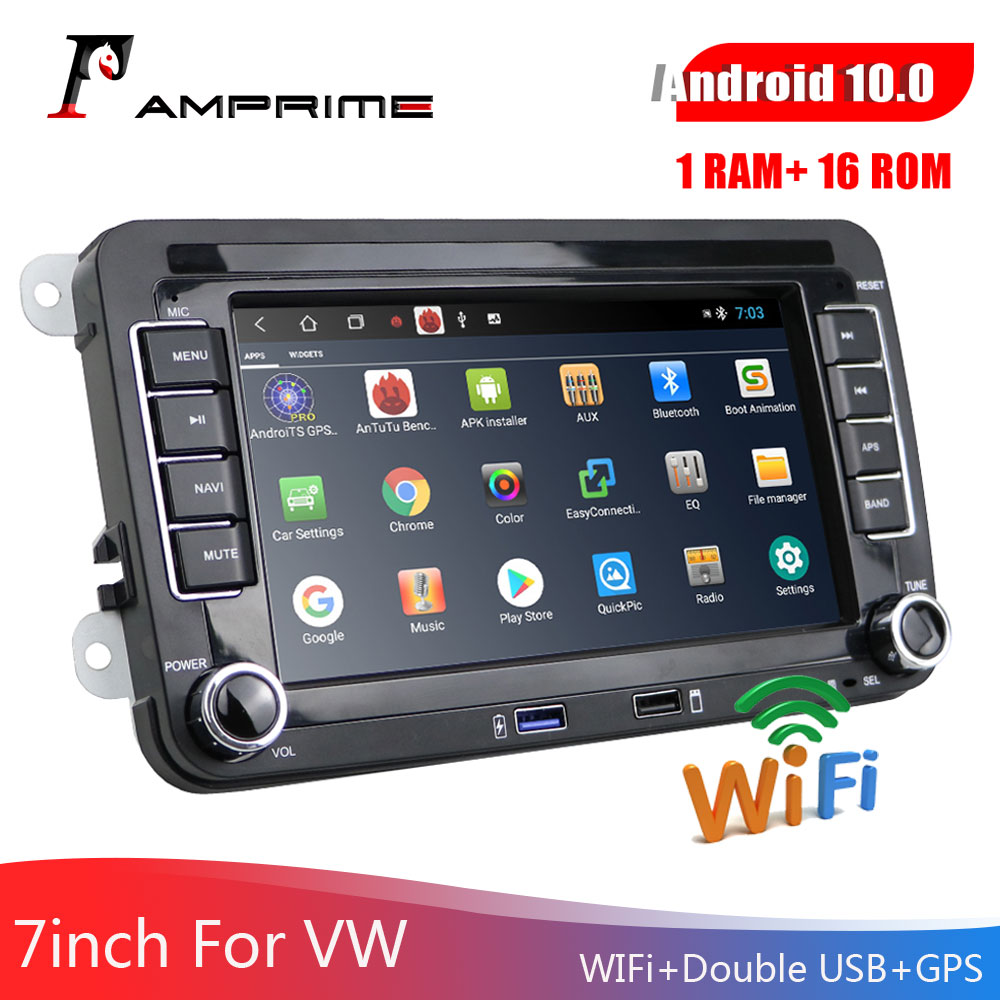 AMPrime Car Multimedia player 2 Din Car Radio Android 7 For Skoda/Seat/Volkswagen/VW/Passat b7/POLO/GOLF 5 6 GPS Auto Stereo image