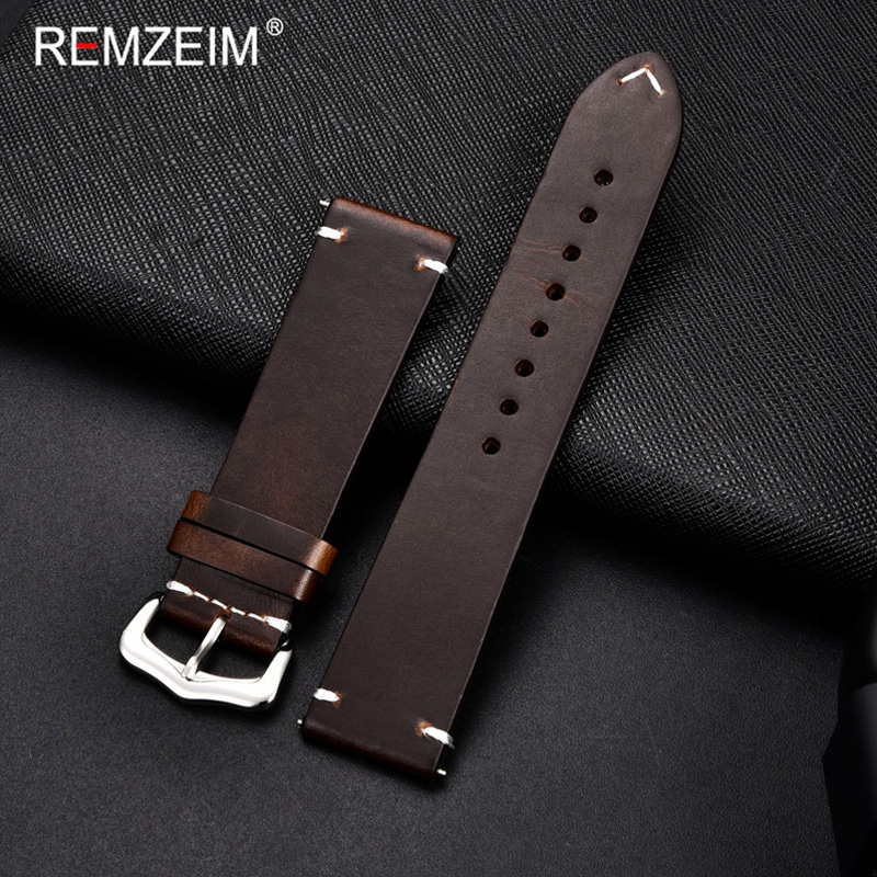 REMZEIM Cow Leather Watchband 18mm 20mm 22mm 24mm Vintage Leather Men Women Replacement Bracelet Strap Band Watch Accessories