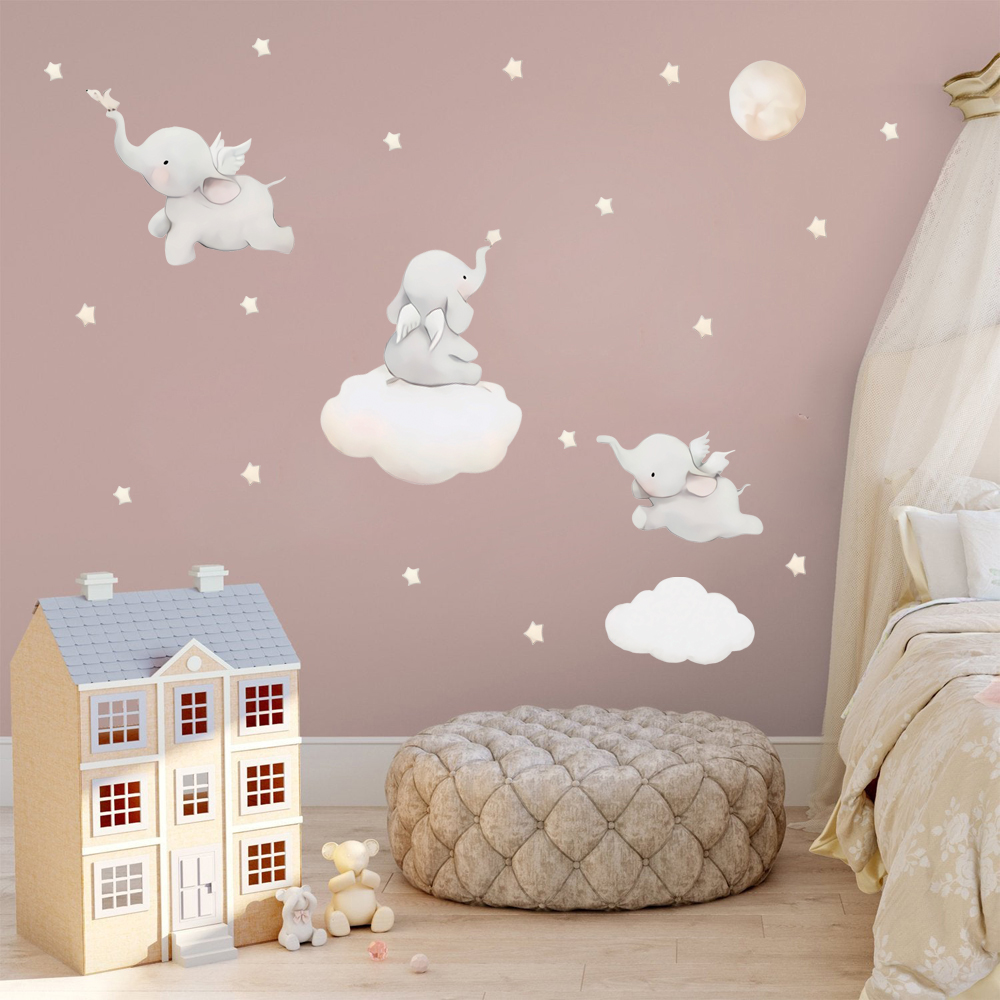 Elephant Baby Sticker Watercolor Style Cute Cartoon Animals Cloud Stars Modern Wall Decal For Kids Child Room Bedroom Art Decor