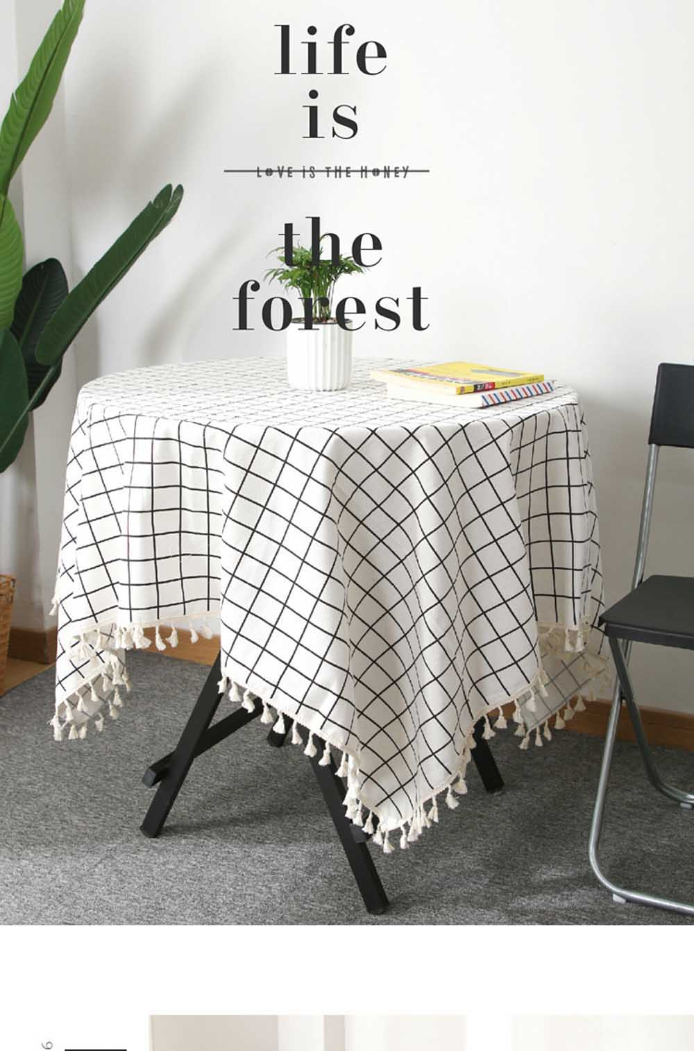 Cotton Linen Tablecloth Household Plaid Striped Printing Table cloth Pendant Lace Decor Rectangular Tea Table Pad Meal Cloth