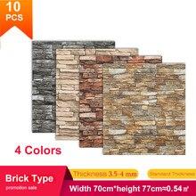 5/10 pces 70*77cm tv fundo tijolo adesivo de parede impermeável anti-colisão espuma papel de parede auto-adesivo para sala de estar quarto