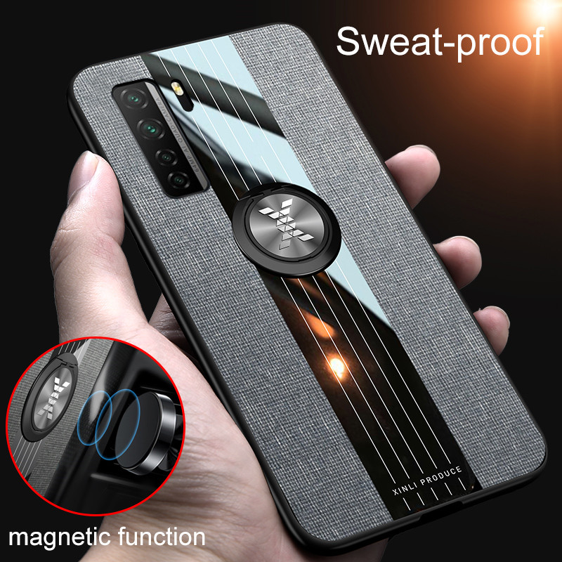 Luxury Leather Armor Case For Huawei P40 Lite 5G P30 Pro Mate 30 Nova 3 i 6 7 SE Honor V 20 X10 9A Magnetic Ring Holder Cover(China)
